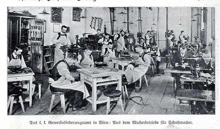 Schuhmacherbetrieb vom 1908